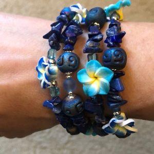 🌴 HP lapis lazuli flower bracelet